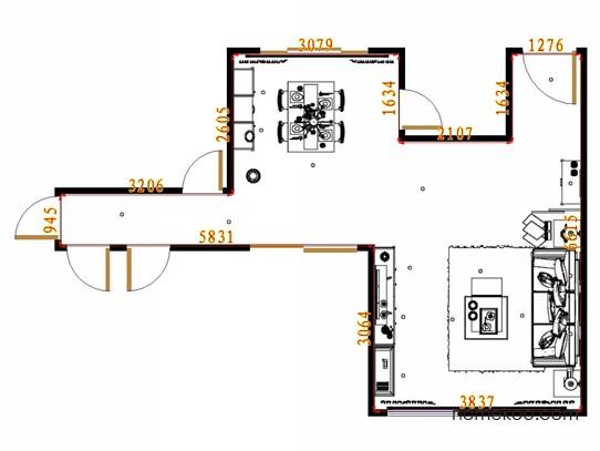 平面布置图德丽卡系列客餐厅G13165