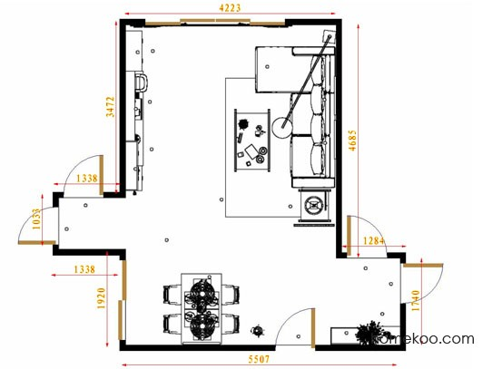 平面布置图柏俪兹系列客餐厅G13396