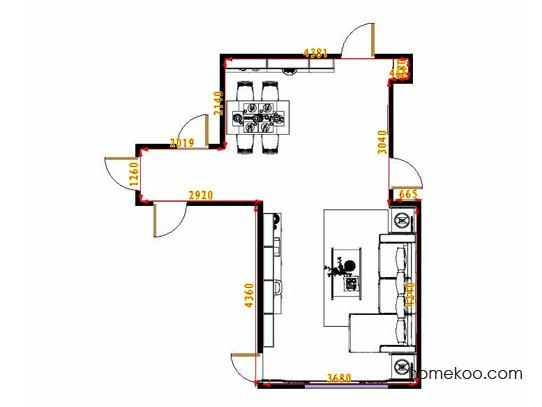 平面布置图德丽卡系列客餐厅G13607