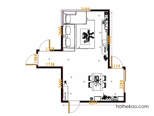 平面布置图柏俪兹系列客餐厅G13734