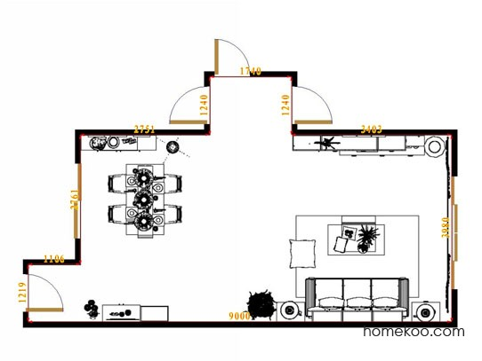 平面布置图格瑞丝系列客餐厅G13844