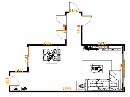 平面布置图德丽卡系列客餐厅G13905