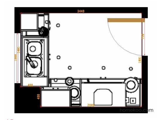 平面布置图德丽卡系列厨房F12857