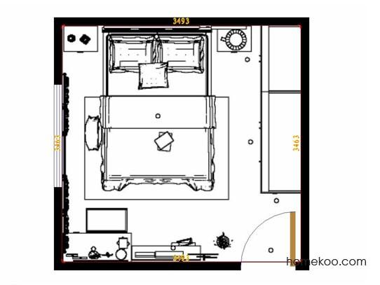 平面布置图乐维斯系列卧房A14005