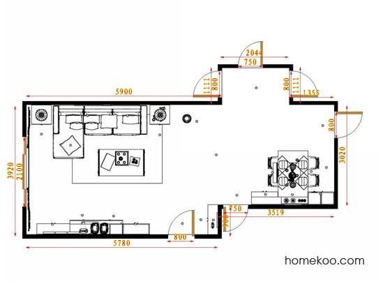 平面布置图德丽卡系列客餐厅G14188