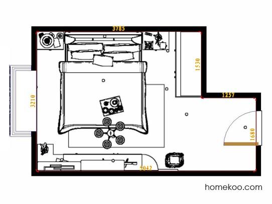 平面布置图德丽卡系列卧房A14249