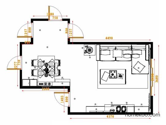 平面布置图德丽卡系列客餐厅G14411