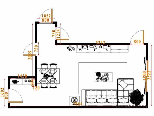 平面布置图贝斯特系列客餐厅G14415