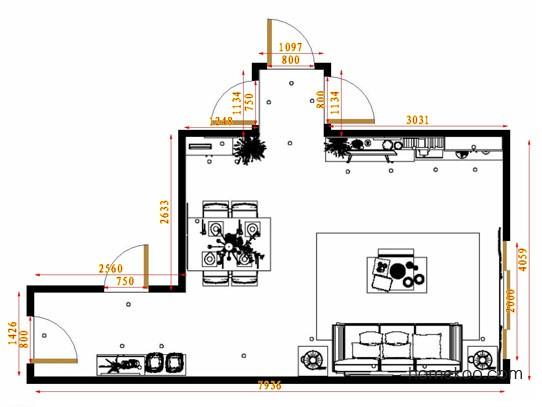 平面布置图乐维斯系列客餐厅G14514