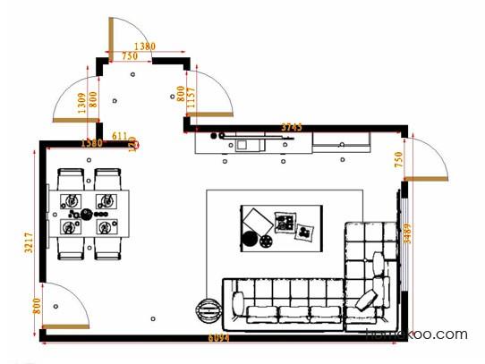 平面布置图德丽卡系列客餐厅G14590