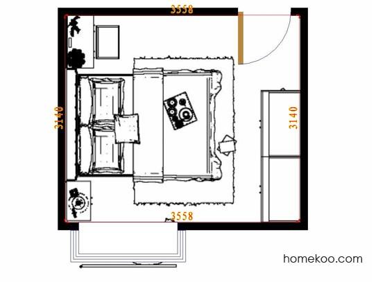 平面布置图格瑞丝系列卧房A14515