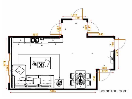 平面布置图德丽卡系列客餐厅G14694