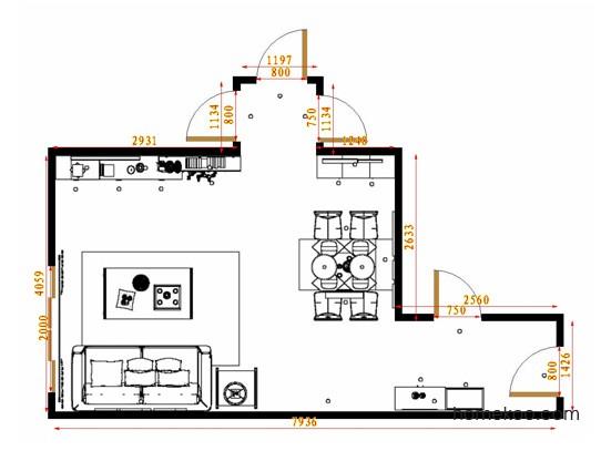 平面布置图德丽卡系列客餐厅G14712