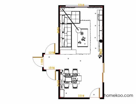 平面布置图德丽卡系列客餐厅G15125