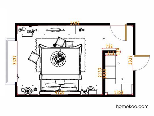 平面布置图德丽卡系列卧房A15367