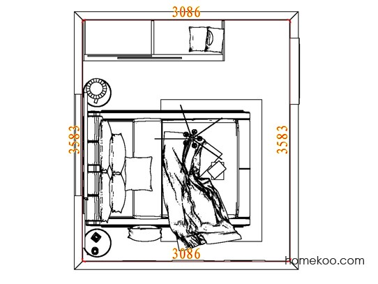 平面布置图格瑞丝系列卧房A6844