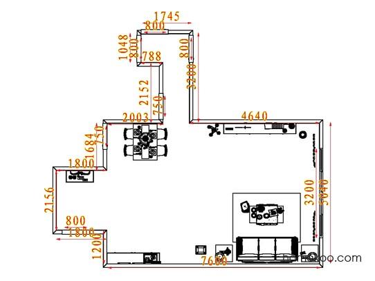 平面布置图德丽卡系列客餐厅G6975