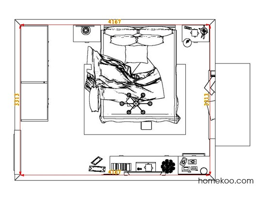平面布置图德丽卡系列卧房A6921