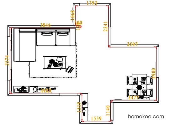 平面布置图德丽卡系列客餐厅G7107