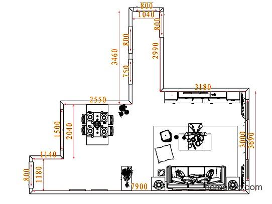 平面布置图斯玛特系列客餐厅G7144