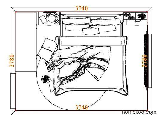 平面布置图德丽卡系列卧房A7169