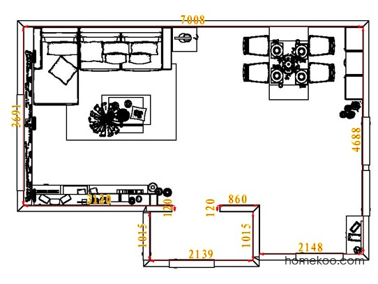 平面布置图德丽卡系列客餐厅G7386