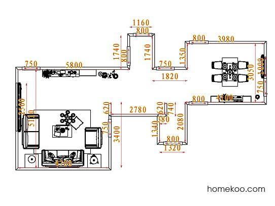 平面布置图德丽卡系列客餐厅G7452