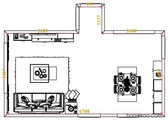 平面布置图德丽卡系列客餐厅G7500