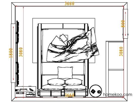平面布置图德丽卡系列卧房A7583