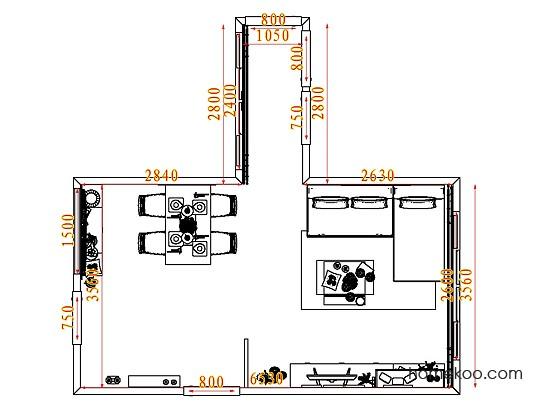 平面布置图斯玛特系列客餐厅G7617