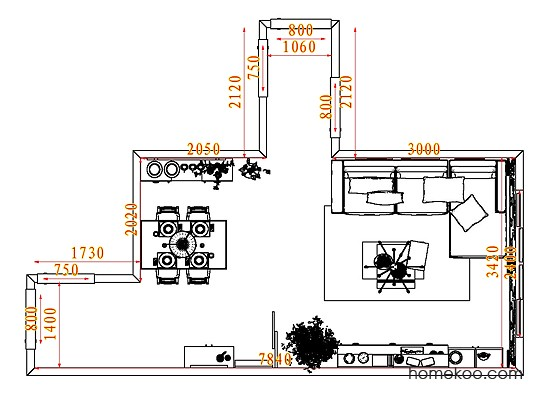 平面布置图柏俪兹系列客餐厅G7664