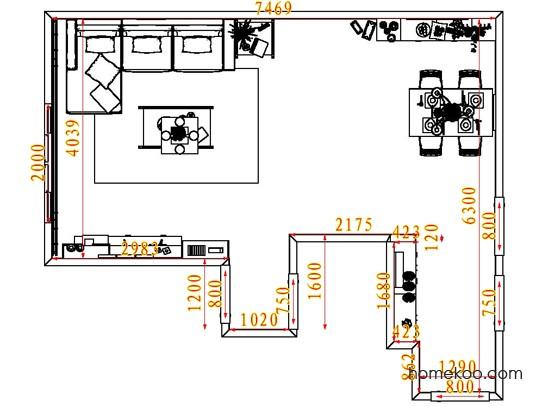 平面布置图德丽卡系列客餐厅G7749