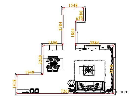 平面布置图贝斯特系列客餐厅G7843