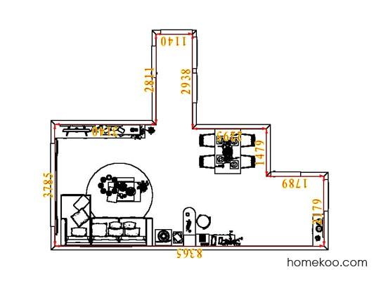 平面布置图德丽卡系列客餐厅G8113