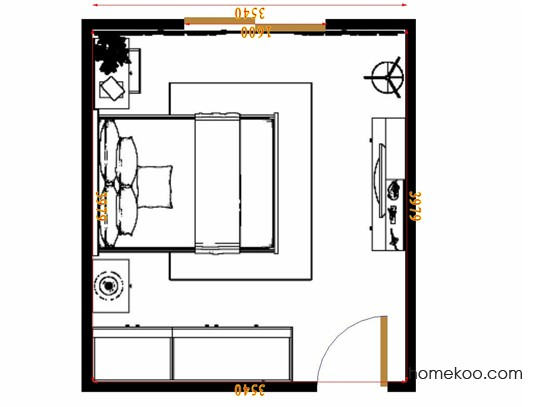 平面布置图德丽卡系列卧房A8290