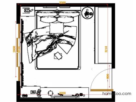 平面布置图斯玛特系列卧房A10007