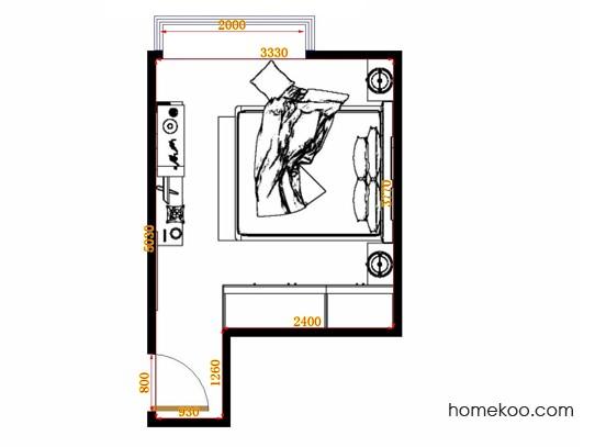 平面布置图格瑞丝系列卧房A10163