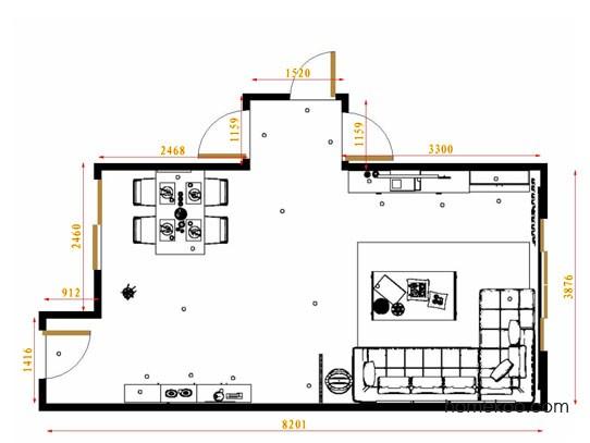 平面布置图贝斯特系列客餐厅G9153