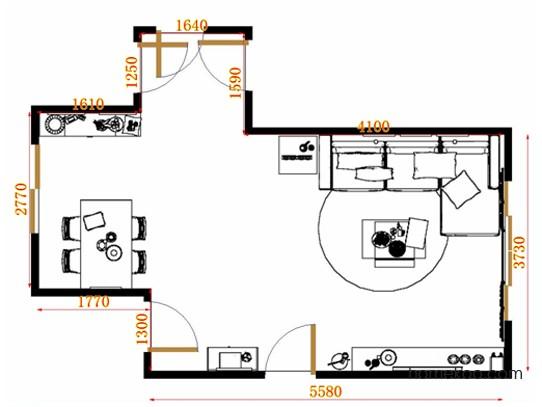 平面布置图德丽卡系列客餐厅G9197