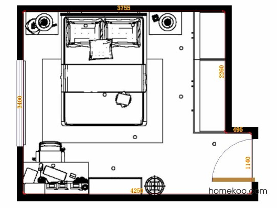平面布置图贝斯特系列卧房A10828