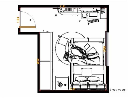 平面布置图柏俪兹系列卧房A10933