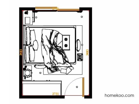 平面布置图德丽卡系列卧房A10975