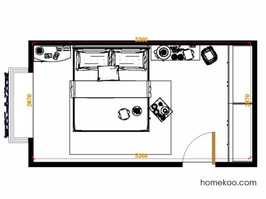 平面布置图德丽卡系列卧房A11012