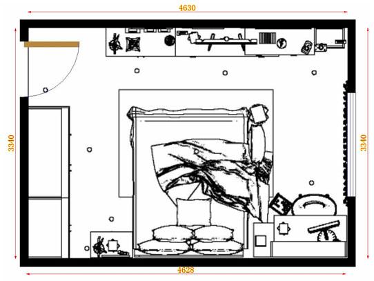 平面布置图德丽卡系列卧房A11034