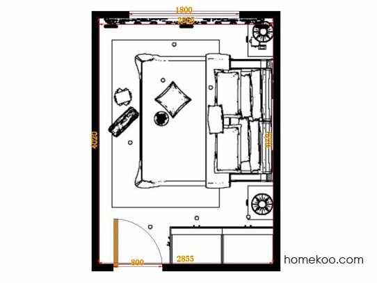平面布置图柏俪兹系列卧房A11105
