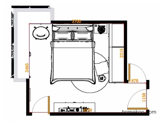 平面布置图乐维斯系列卧房A11223