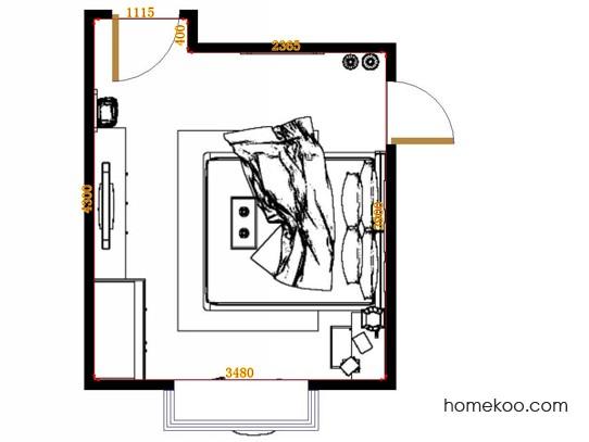 平面布置图格瑞丝系列卧房A11285