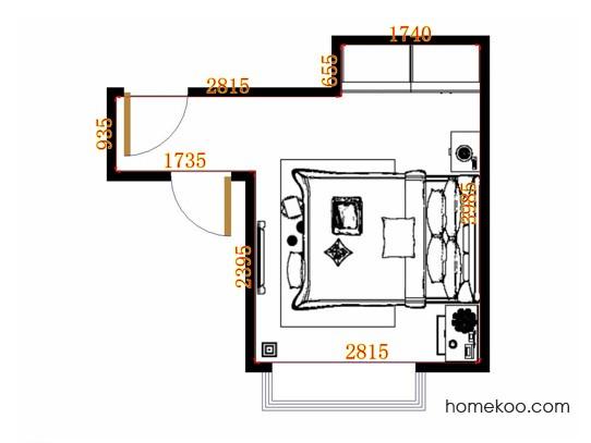 平面布置图格瑞丝系列卧房A11304