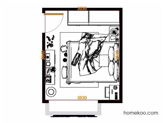 平面布置图格瑞丝系列卧房A11371