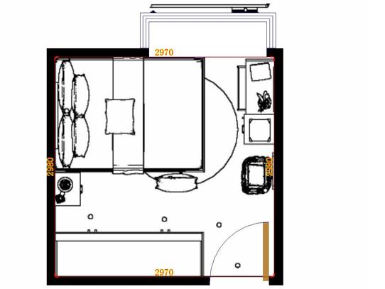 平面布置图格瑞丝系列卧房A11393